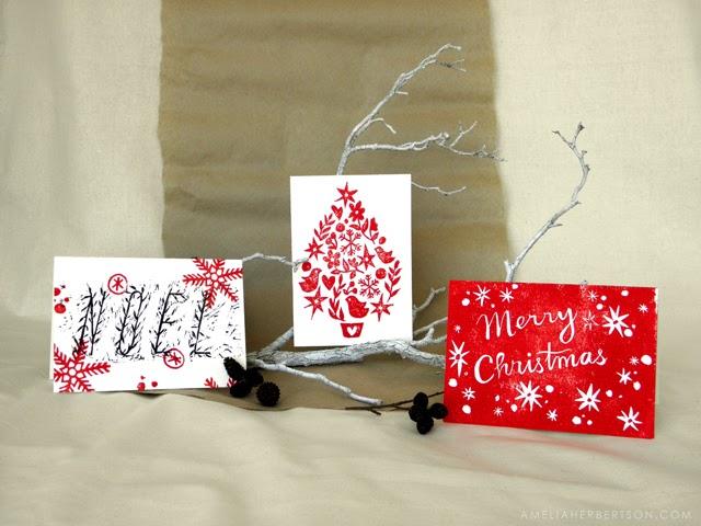 Amelia Herbertson Lino Printed Christmas Cards