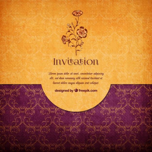 gold wedding invitation vector free