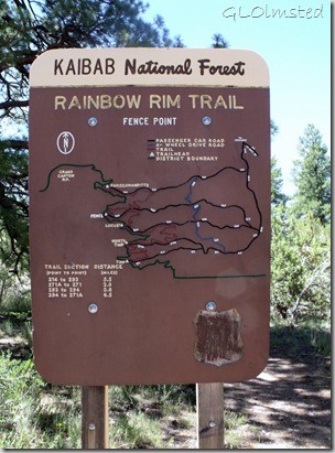 Rainbow Rim trail sign at Fence Point FR293 Kaibab National Forest Arizona