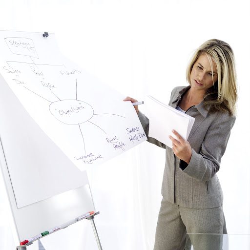 Female Executive Drawing a Flow Diagram --- Image by © Royalty-Free/Corbis
