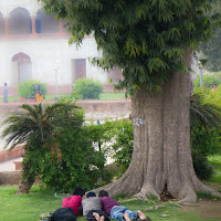 people relaxing at the Red Fort, main tourist attraction in Delhi