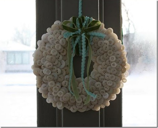 Winter wreath--white button wreath