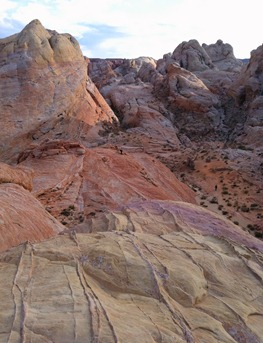 hiking slickrock above the trail in the Valley of Fire