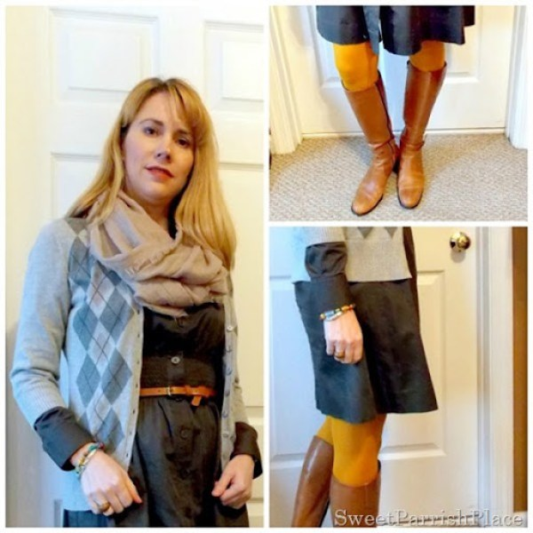grey dress with mustard tights and brown boots7