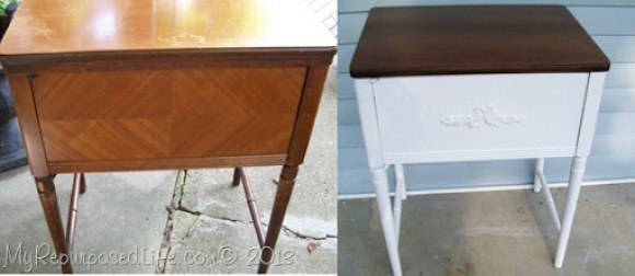 vintage sewing cabinet side table