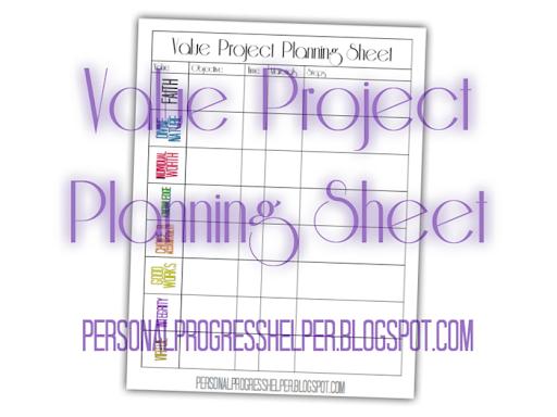 value project planning sheet the personal progress helper
