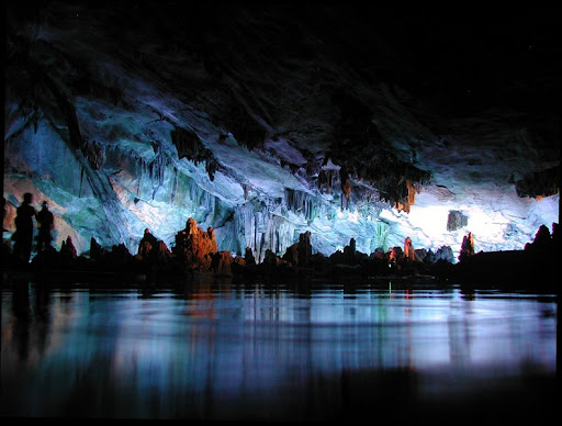 Image result for A lake inside the Reed Flute Cave in Guilin, China.