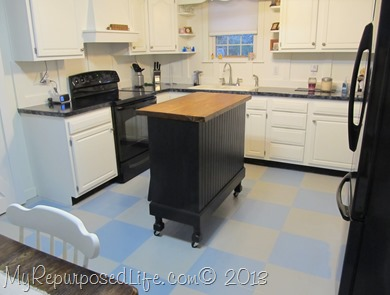 white cabinets painted floor