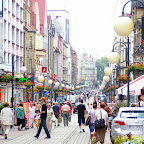 It's lunch time in Chorzów and this commercial street is booming with people.