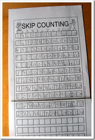 Skip Counting Drill Sheets