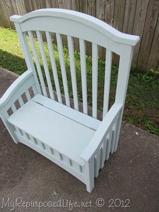 toy box bench made from a crib