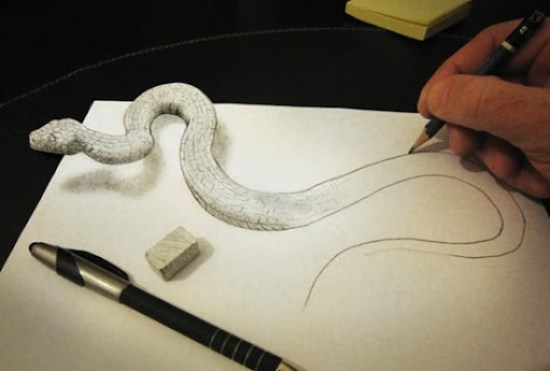 serpiente dibujo anamórfico