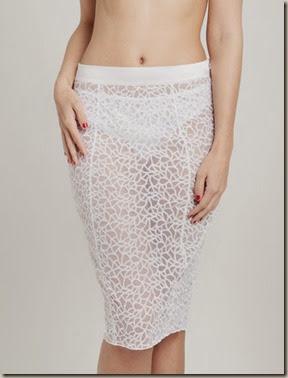 white see through skirt