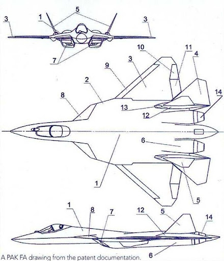 Layout diagram of the T-50 PAK-FA Fifth Generation Fighter Aircraft [FGFA]