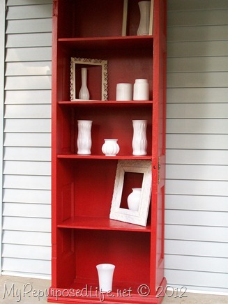 door repurposed book shelf