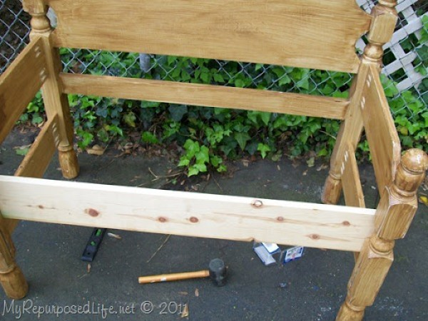 twin headboard into bench front brace