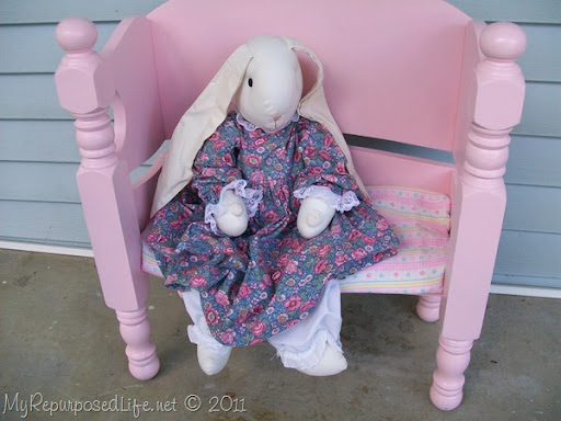 small pink bench