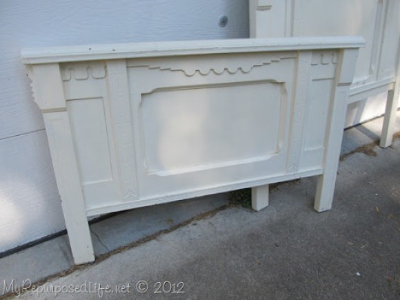 white antique foot board