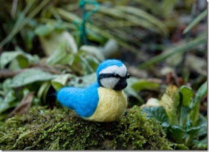 Needle Felted Garden Bird Blue Tit