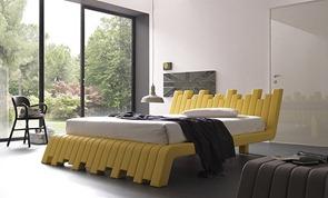 Cama-de-diseño-en-color-amarillo