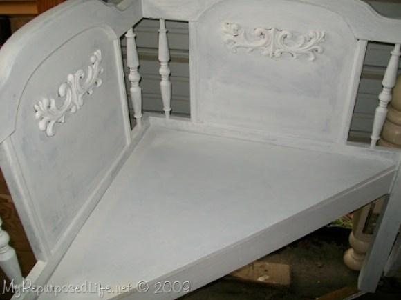 corner bench from queen headboard