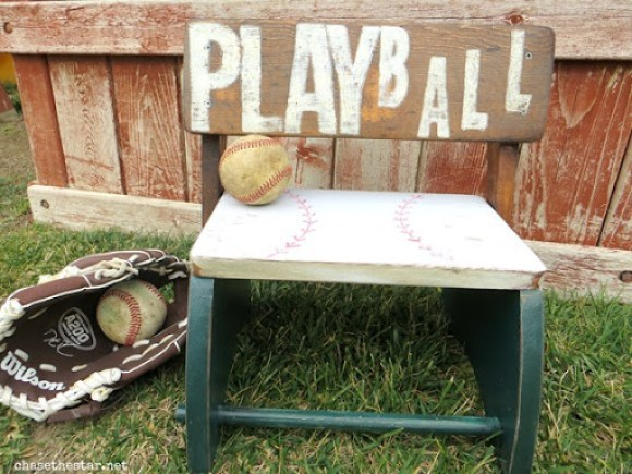 kid's stool for baseball fans