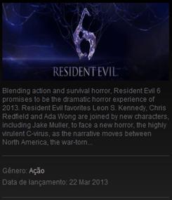 Data de Lançamento Resident Evil 6 Steam