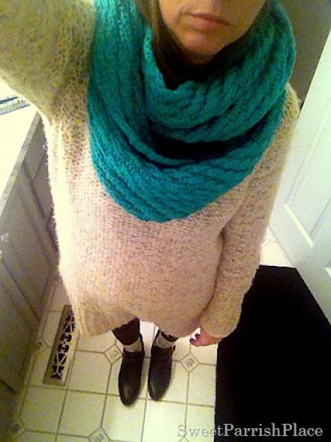 chunky sweater and leggings with infinity scarf and booties