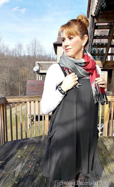 Grey Dreess, plaid scarf, polka dot tights4