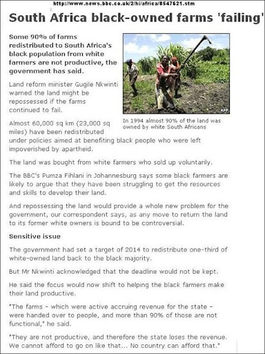 FARMLAND 90 PERCENT OF BLACK OWNED FARMS FAILING BBC REPORT