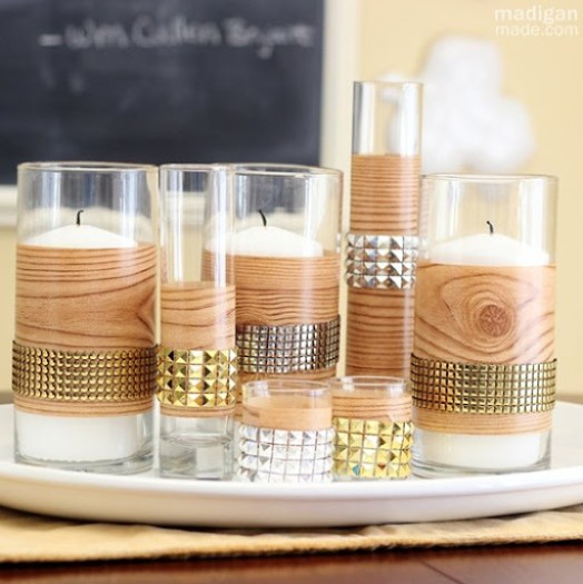 tutorial for faux bois studded candle centerpiece - madiganmade.com