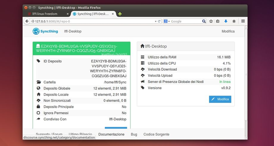 Syncthing in Ubuntu
