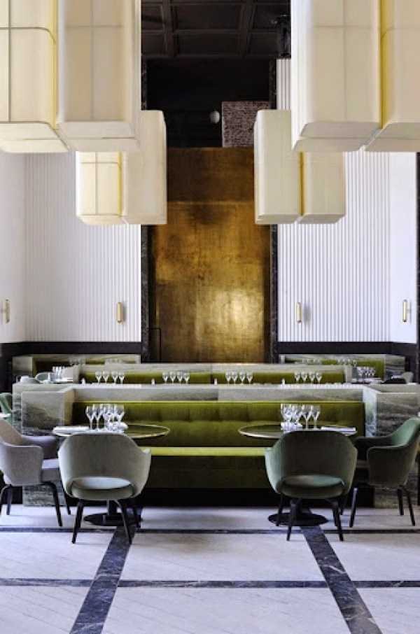 Restaurant Monsieur Bleu in Paris   Interior design by Joseph Dirand  Photography Adrien Dirand Image source here. Trends in restaurant design by leading European designers