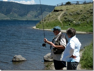 Fly casting on Henry's Lake, ID