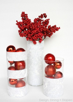 winter vases from the dollar store