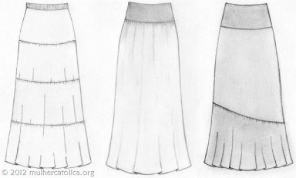 Três modelos de saias: com recortes, com pala e recorte assimétrico