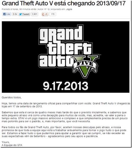 Grand Theft Auto V – #GTA5 – Data de lançamento oficial é revelada oficialmente