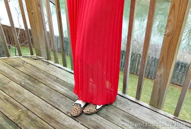 red maxi skirt, tan sweater, leopard flats3