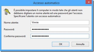 Windows 8 Accesso automatico senza password