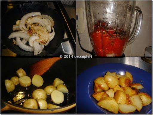 Asa la cebolla y los ajos, cuece el tomate, licua con las especias.  Dora las papas