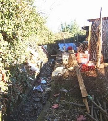 Basura en Canal derivado, ubicado en sector de Villa Reina, Parral