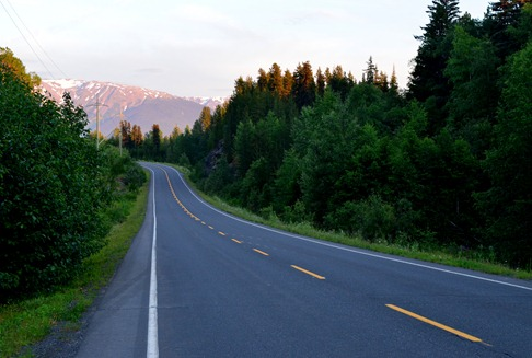 the Cassiar Highway at mile 52 or so at ten pm
