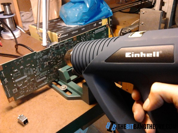 Desoldering electronic components with heat gun