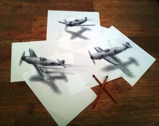 aviones de dibujo anamórfico