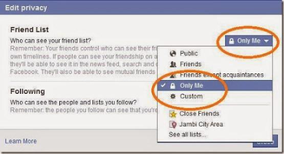daftar teman facebook aman tersembunyi dan rapi