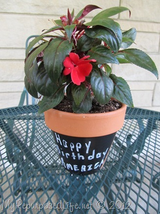 Plaid Chalkboard Paint flower pot
