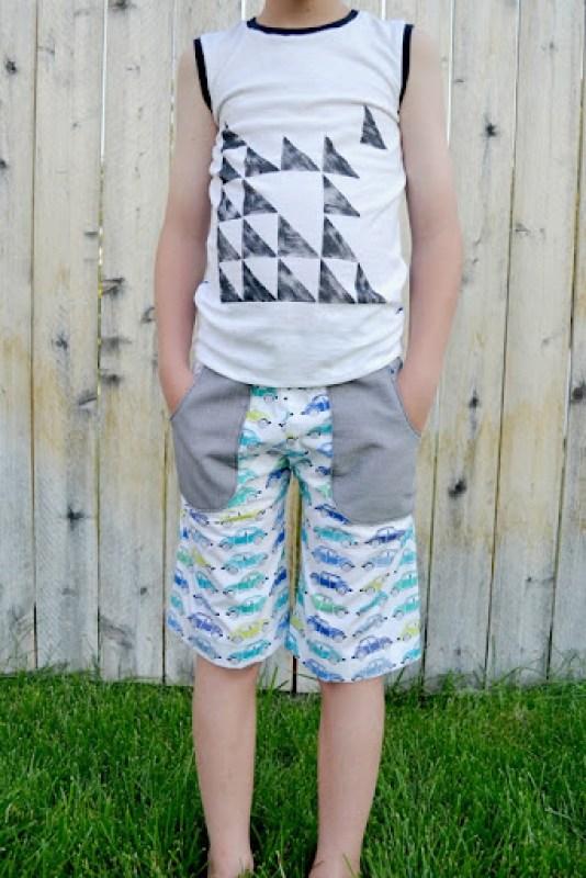 ottobre tank and kids shorts {l'oiseau fabrics}