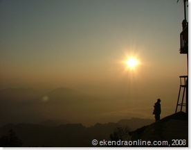 a security personnel guarding towers in Sarangkot in dawn