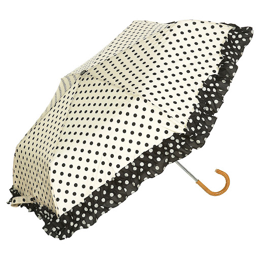 Retro Frilly Polka Dot Umbrella by Topshop