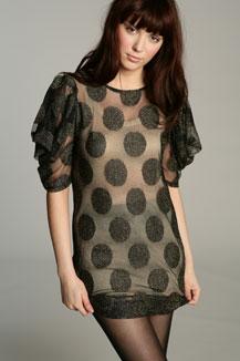 Polka Dots Metallic Mini Dress